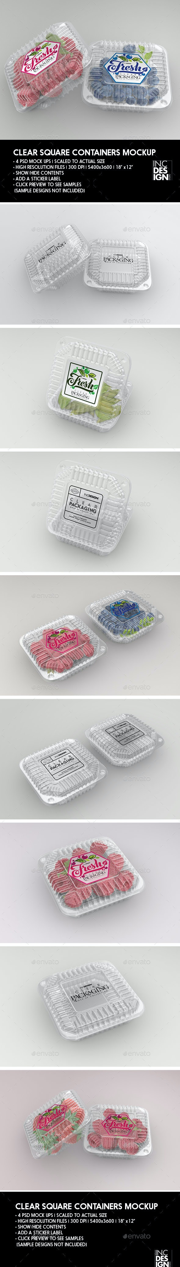 Clear Square Clamshell Food Container Packaging Mockup - Food and Drink Packaging