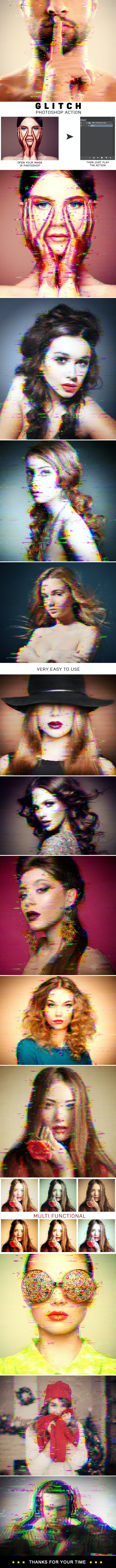 Glitch Photoshop Action - Photo Effects Actions
