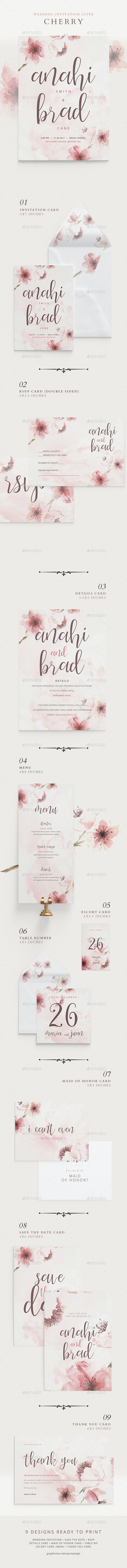 Wedding Invitation Suite - Cherry - Weddings Cards & Invites