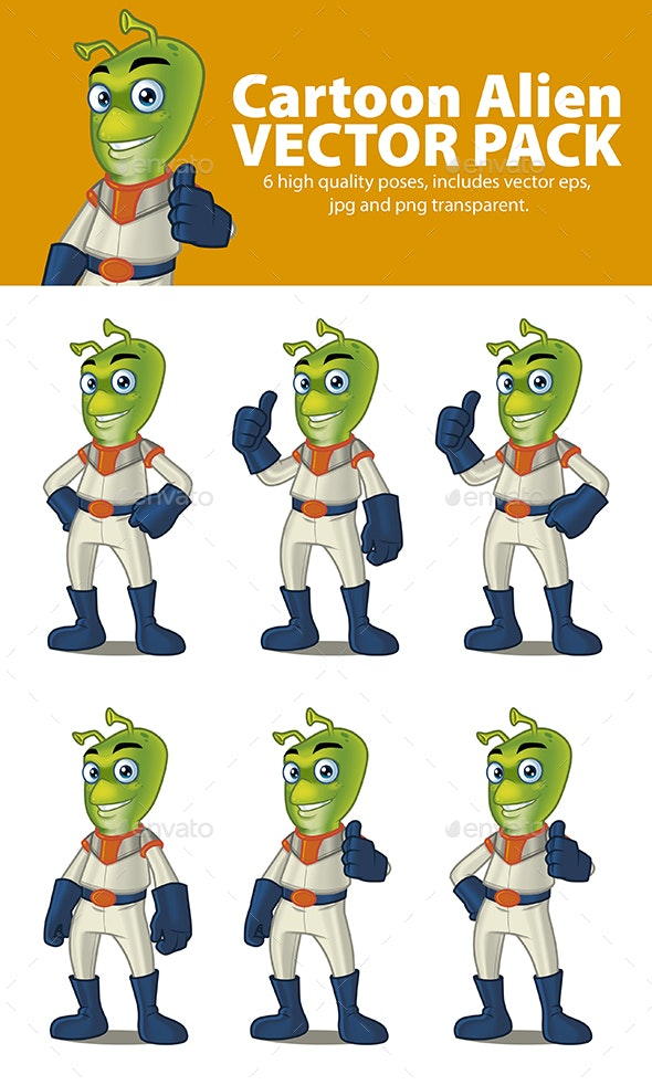 Cartoon Alien Vector Pack - Miscellaneous Characters