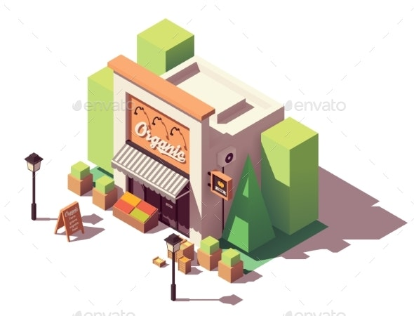 Vector Isometric Fruits and Vegetables Store - Buildings Objects