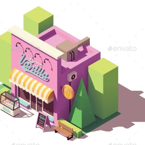 Vector Isometric Ice Cream Shop