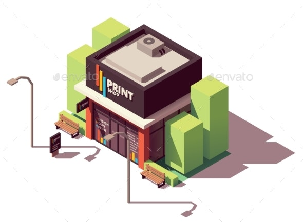 Vector Isometric Copy and Print Shop - Buildings Objects