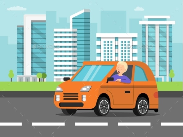 Urban Landscape with Car and Driver - Objects Vectors