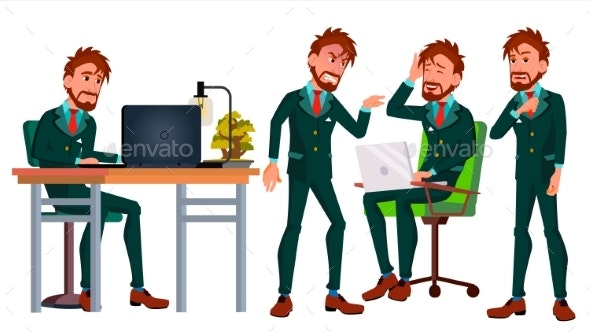 Office Worker Vector. European Business Character - People Characters