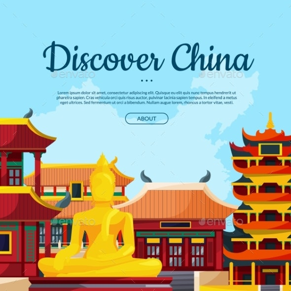 Vector Flat Style China Sights Background - Miscellaneous Vectors