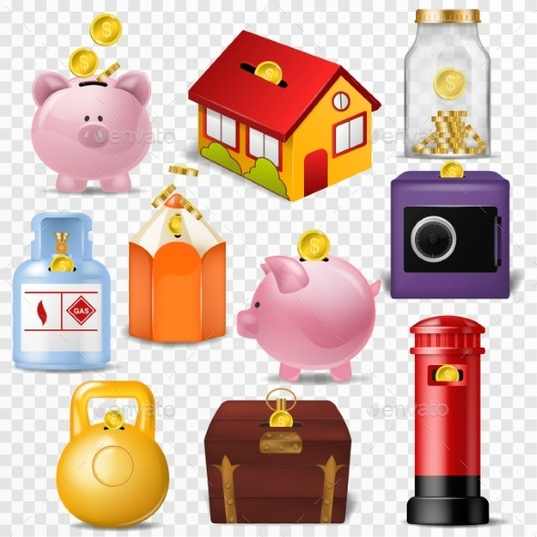 Money Box Vector Financial Icons - Miscellaneous Vectors