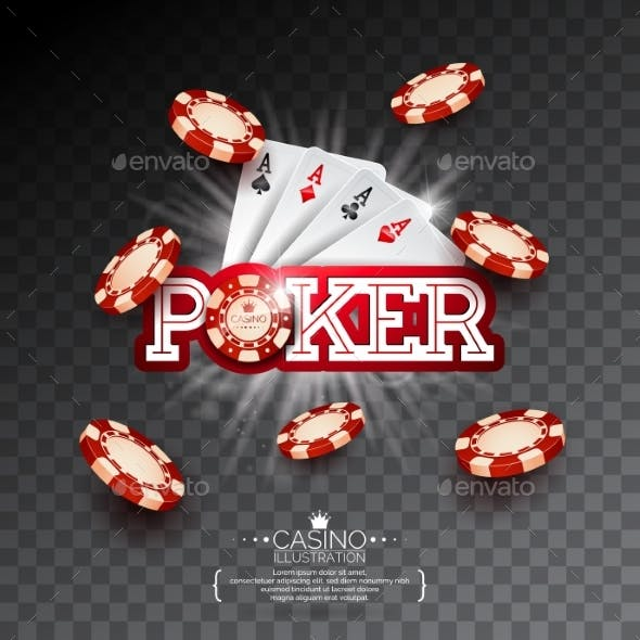 Casino Illustration with Poker Card and Falling