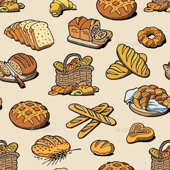Bakery and Bread Vector Baking Breadstuff Meal - Food Objects