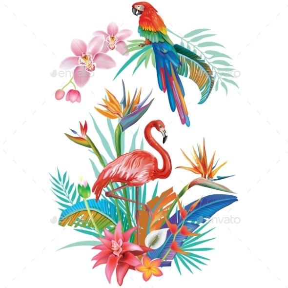 Tropical Flowers Flamingoes and Parrots - Flowers & Plants Nature