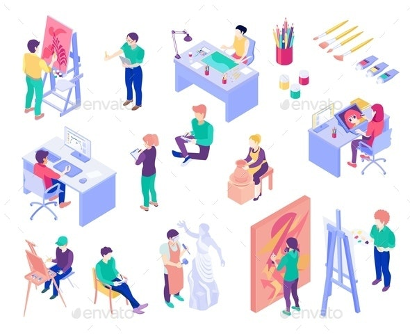 Creative Professions Isometric People Set - Miscellaneous Vectors