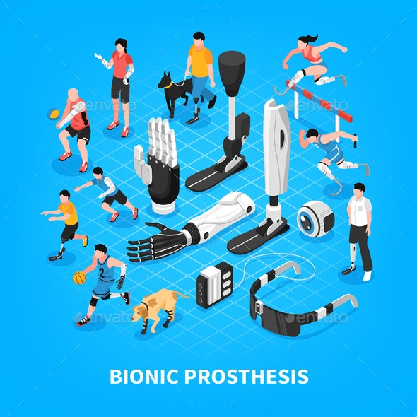 Bionic Prothesis Isometric Composition - Health/Medicine Conceptual
