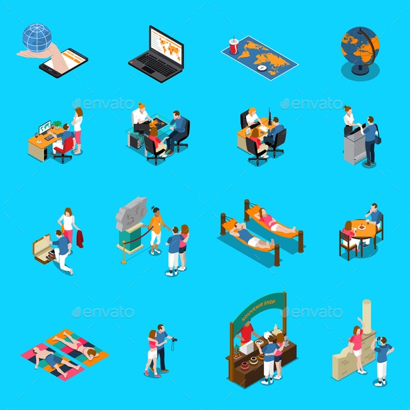 Travel Agency Isometric Icons - Travel Conceptual