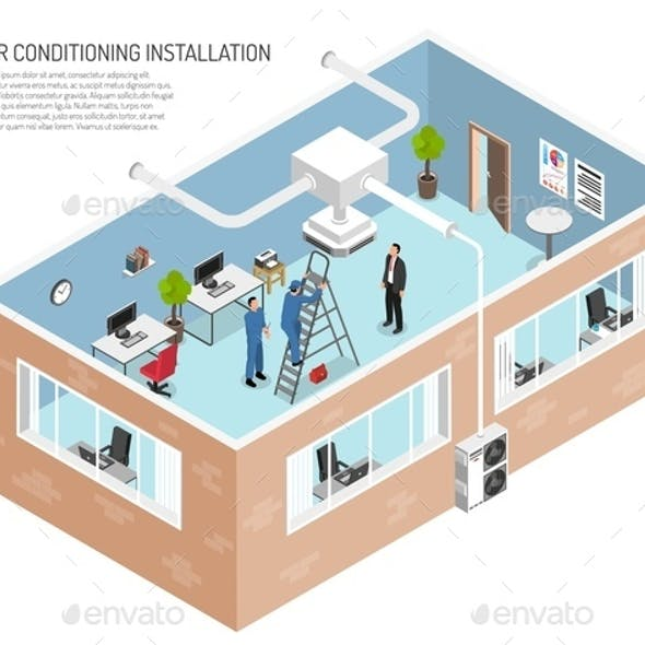Office Air Conditioning System Illustration