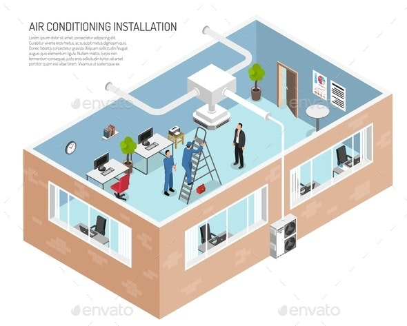 Office Air Conditioning System Illustration - Buildings Objects