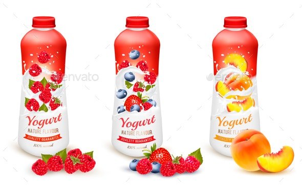 Fruit Yogurt with Berries and Fruit - Food Objects