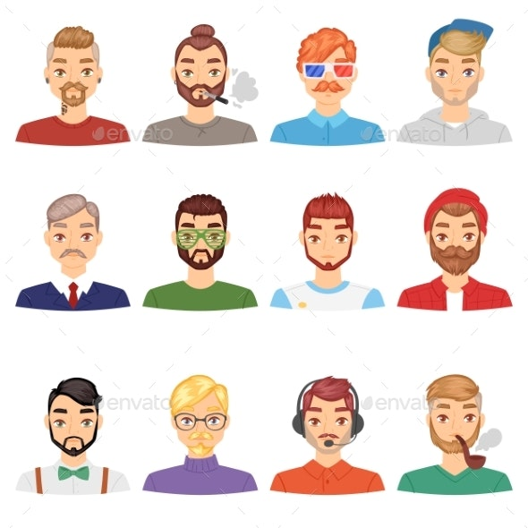 Beards Vector Portraite of Bearded Man with Male - People Characters