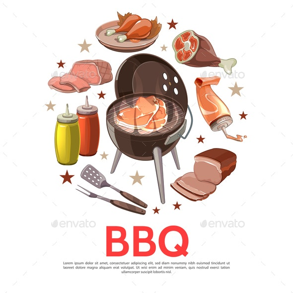 Colorful Barbecue Party Round Concept - Food Objects