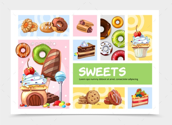 Cartoon Sweets Infographic Concept - Food Objects
