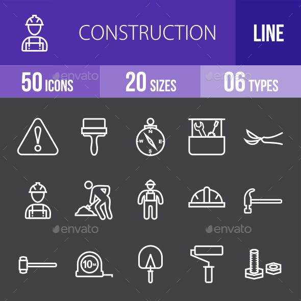 Construction Line Inverted Icons