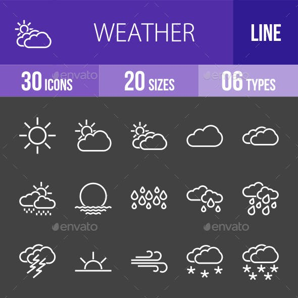 Weather Line Inverted Icons