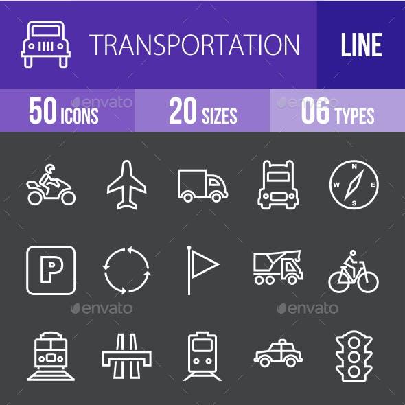 Transportatiom Line Inverted Icons