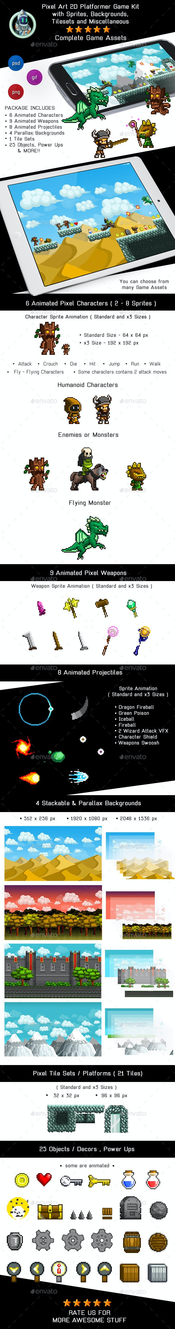 2D Pixel Game Kit 1 of 5 w character sprites & more - Game Kits Game Assets