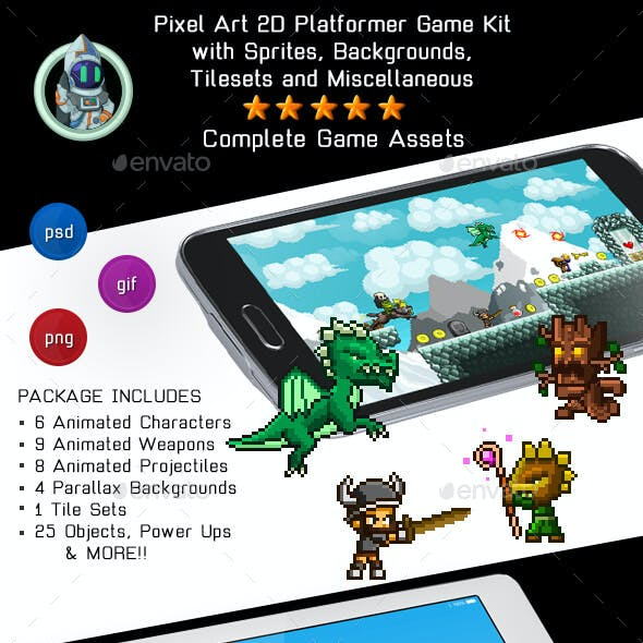 2D Pixel Game Kit 1 of 5 w character sprites & more