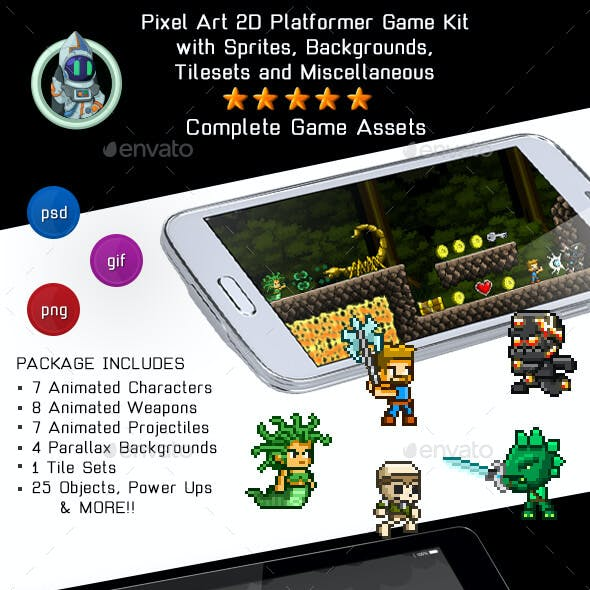 2D Pixel Game Kit 2 of 5 w character sprites & more