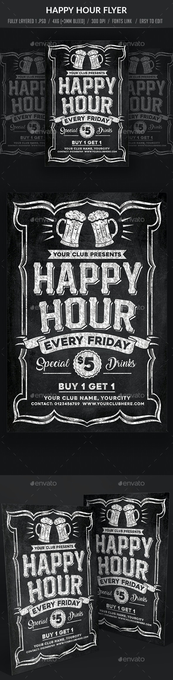 Chalk Board Happy Hour Flyer - Clubs & Parties Events