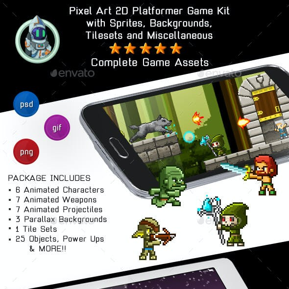 2D Pixel Game Kit 5 of 5 w character sprites & more