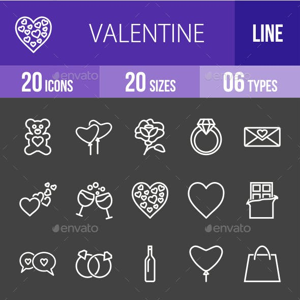 Valentine Line Inverted Icons