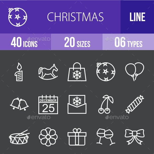 Christmas Line Inverted Icons