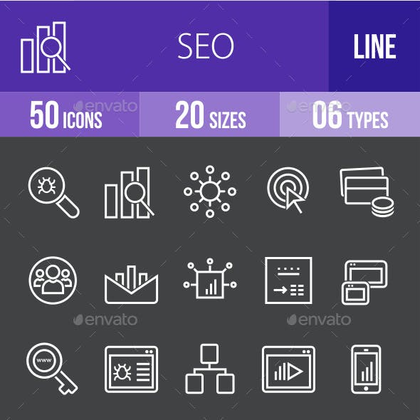 SEO Line Inverted Icons