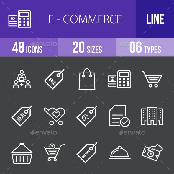 Ecommerce Line Inverted Icons