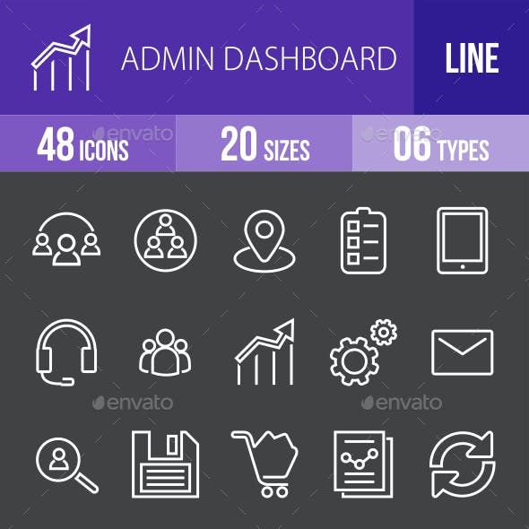 Admin Dashboard Line Inverted Icons