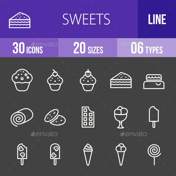 Sweets Line Inverted Icons