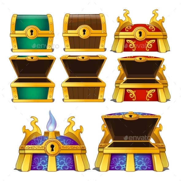 Set of Closed and Opened Colored Chests Isolated - Business Conceptual