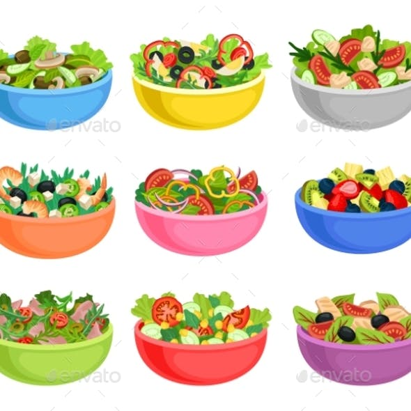Flat Vector Set of Vegetable and Fruit Salads