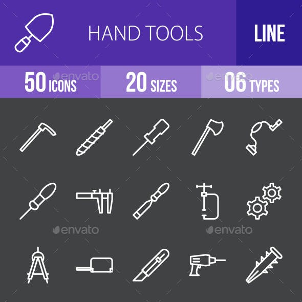 Hand Tools Line Inverted Icons