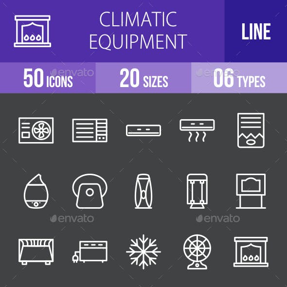 Climatic Equipment Line Inverted Icons