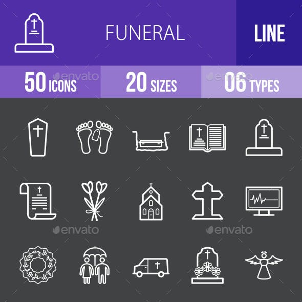 Funeral Line Inverted Icons