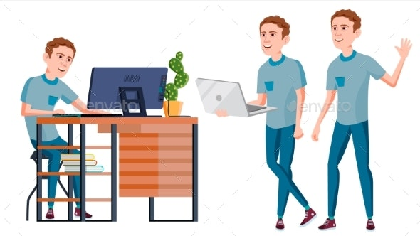 Businessman Worker Vector. Silhouette - People Characters