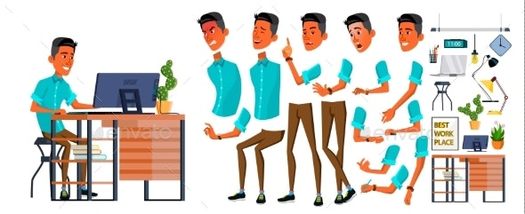 Businessman Office Worker Vector. Animation - People Characters