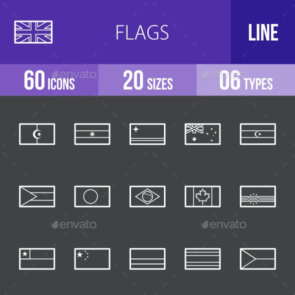 Flags Line Inverted Icons