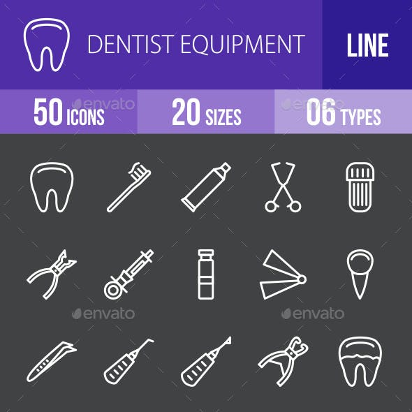 Dentist Equipment Line Inverted Icons
