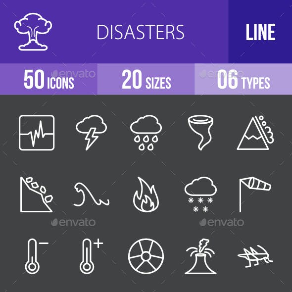 Disasters Line Inverted Icons