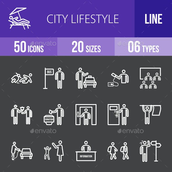 City Lifestyle Line Inverted Icons