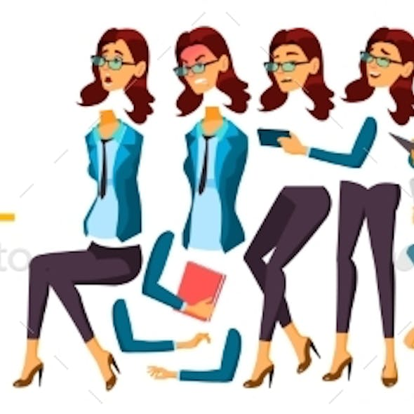 Business Woman Office Worker Vector. Animation. Secretary, Accountant.