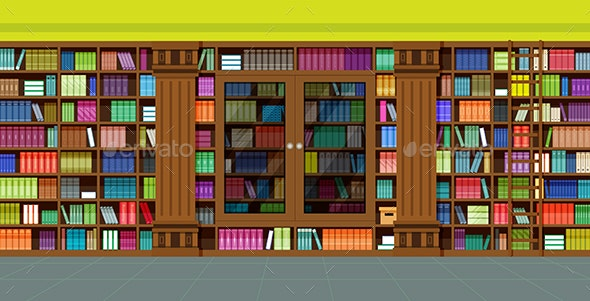 Bookshelves Library - Man-made Objects Objects